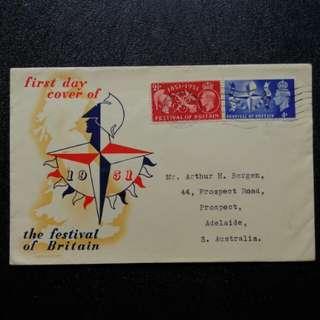 [lapyip1230] 大英帝國首日封 1951年 喬治六世 英國節(蓋英國節特別機印) 少見