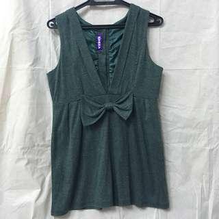 韓風韓版高雅貴氣墨綠色蝴蝶結洋裝 裙 dress