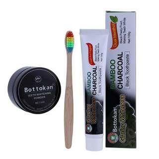 預購 活性碳黑牙粉30g竹牙刷竹碳牙膏套裝 (隨時會漲價) 一套320元 三套900元