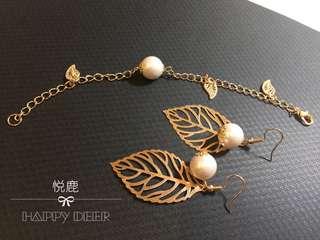 [悦鹿原廠手作]珍珠枝葉手鍊&耳環
