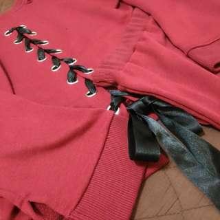 酒紅緞帶美背小性感套裝