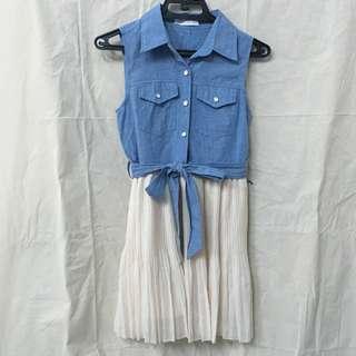 東京著衣 休閒質感牛仔雪紡背心洋裝 裙子 dress skirt