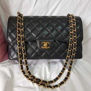 Authentic Chanel Classic Flap Jumbo Black Caviar Gold Hardware