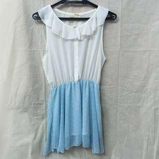 韓風韓版優雅小公主荷葉領天藍色點點雪紡紗小洋裝 裙 dress