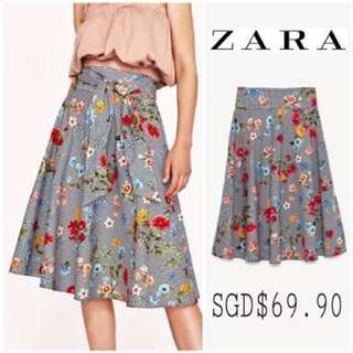 Zara Gingham Skirt with Floral Details