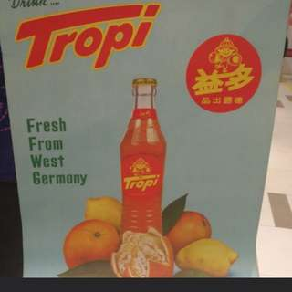 Vintage Tropi soda advertising poster. Printed in Singapore