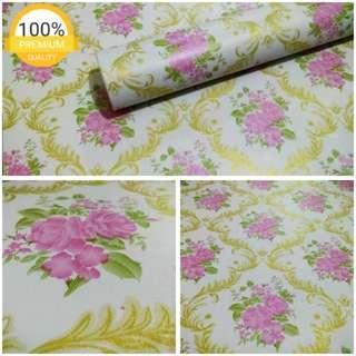 Grosir murah wallpaper sticker dinding indah bunga pink batik emas