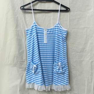 夏天配色 日系休閒風條紋線條內搭洋裝雪紡紗裙擺 裙 vest dress