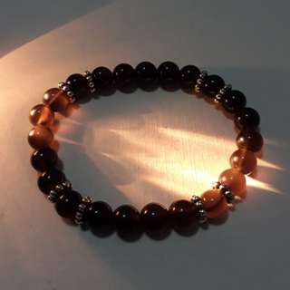 🎆Special Offer.🎆 Icy grade Black Obsidian+spacer bracelet(冰种黑曜石+隔珠手链), very nice with eye. Bead size 8mm.