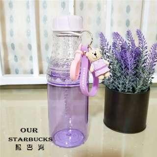 星巴克杯子 薰衣草小熊奶瓶冷變變色玻璃杯馬克杯隨行杯保溫杯