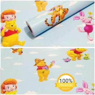 Grosir murah wallpaper sticker dinding indah kartun anak biru winny the pooh