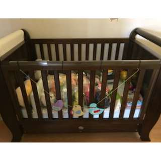 Boori Sleigh Baby Cot with Mattress. Throwing in bedding from motherworks.