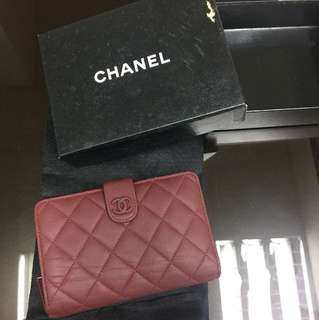 Chanel wallet 棗紅色