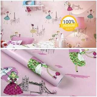 Grosir murah wallpaper sticker dinding indah kartun anak pink gadis berpayung