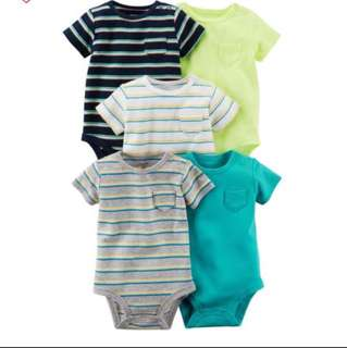 *6M* Brand New Carter's 5-Pack Short Sleeve Bodysuits For Baby Boy