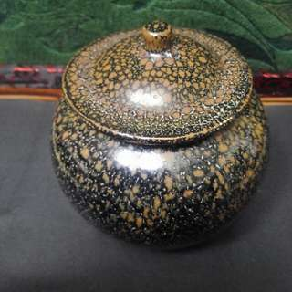 定窯黑釉金油滴蓋罐