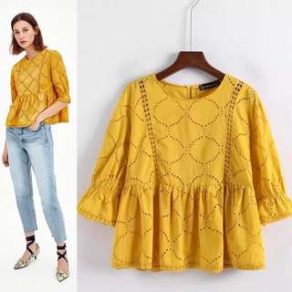 Women's Lace Shirt Europe and the United States long-sleeved hollow blouse