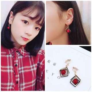 【耳夾】5#紅珠和超多正方形款