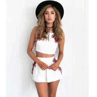 Boho Floral Embroidery Two-Piece Playsuit Set