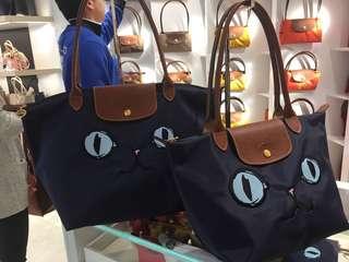 Longchamp le Pliage Miaou深藍貓貓手袋 長帶短帶
