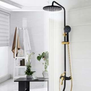 Exclusive Round Matte Black Gold Shower Set