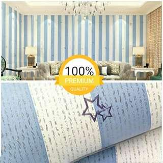 Grosir murah wallpaper sticker dinding indah garis putih biru bintang