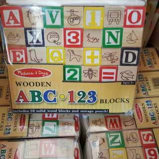 50pc wooden Alpha Numbers Block