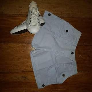 Light blue button shorts