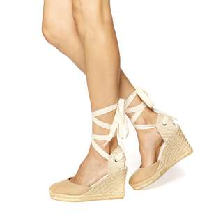 Soludos NIB Tall Wedge Espadrilles nude leather size 7 ** PRICE DROPPED TO $50