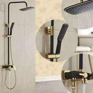 Luxury Matte Black Gold Shower Set