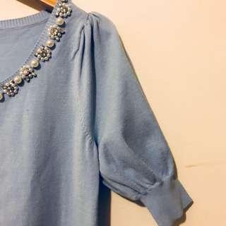 Moma 水藍色珍珠水鑽針織上衣