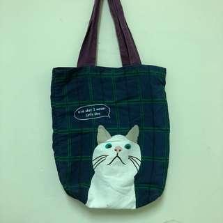貓咪購物包 肩背包 帆布包 二手 綠格紋