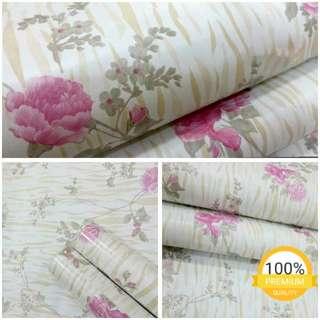 Grosir murah wallpaper sticker dinding indah putih bunga mawar pink loreng cream