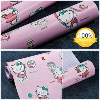 Grosir murah wallpaper sticker dinding indah kartun anak pink hello kitty sport