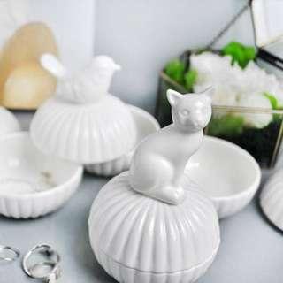 創意可愛動物陶瓷居家擺設飾品盒