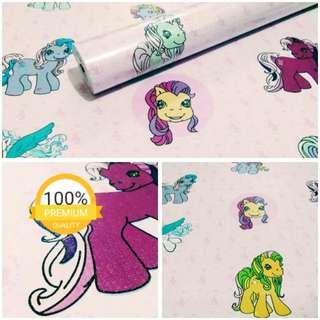 Grosir murah wallpaper sticker dinding indah putih kartun anak kuda pink