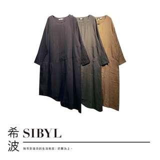 oversize棉麻不規則剪裁口袋設計款長洋裝(卡其)