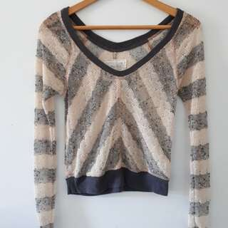 Free People We The Free Striped Grey Knit Top, size XS