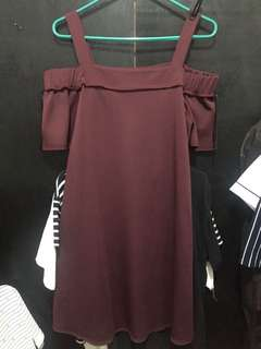 Plus size maroon off shoulder dress