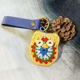 Handmade crochet owl leather keychains