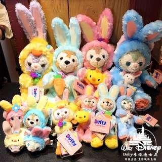 香港迪士尼包郵2018復活節雪莉玫達菲芭蕾兔東尼限量毛絨公仔掛件