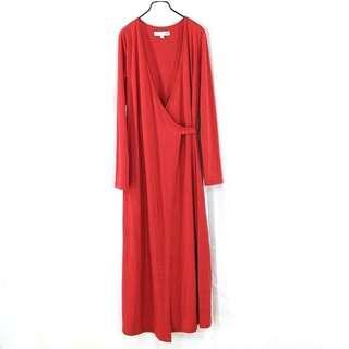 日本【UNIQLO】正紅色交襟腰綁帶長洋裝S