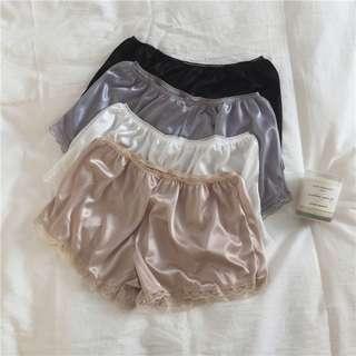 絲滑舒服光澤感蕾絲短褲睡褲居家褲