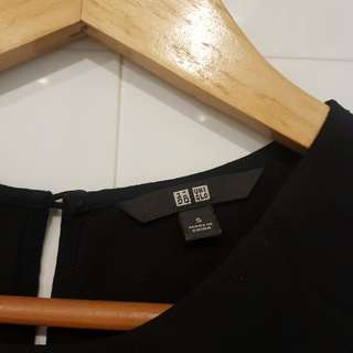 Uniqlo Rayon Shift Black Dress