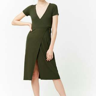 Forever 21 wrap dress in Olive