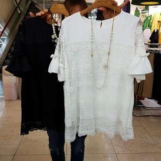🚚 3/30收單♥正韓製~荷葉袖拼蕾絲雪紡造型上衣