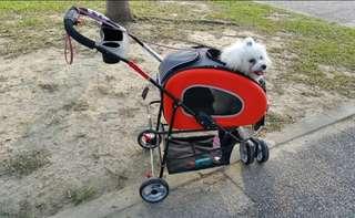 台中可面交 二手 IBIYAYA-FS1009五彩繽紛寵物推車提包組-亮橘 寵物包/寵物拉桿包/外出籠