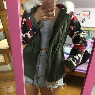 軍綠迷彩鋪棉保暖外套
