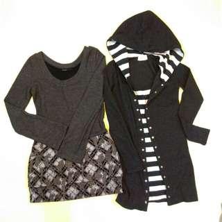 針織毛料連帽假兩件長袖連身裙共2件