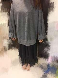 日韓假兩件網紗裙下擺